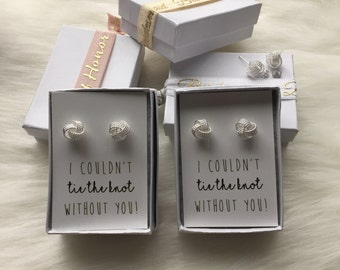 I couldnt TIE THE KNOT| Thank you for helping me Tie the Knot |  Silver Knot Earrings | Bridesmaid Proposal | Tie the Knot | Bridesmaid Gift