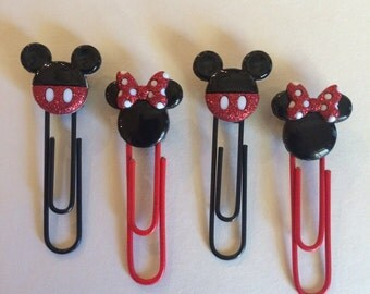 Mickey and Minnie paperclip bookmarks, set of 4, red and black, party favors, gift bag stuffers, thank you gifts, teacher appreciation gifts
