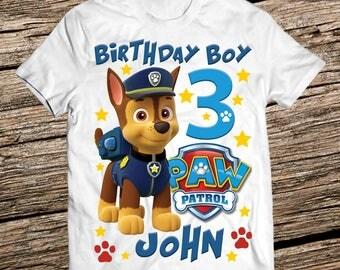 Paw patrol Chase birthday shirt, Paw patrol birthday shirt boy, Personalized paw patrol shirt, Birthday Boy shirt, Paw patrol birthday boy