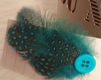 Turquoise Hair Feather / Blue Hair Clip / Feather Hair Clip / Feather Hair Pin / Hippie Hair Accessory / Bridal Hair Pin / Wedding Hair