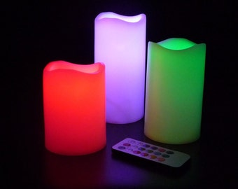 Pack 3 Safety LED Candles 12Colors Changing With Remote for Festival Party decor