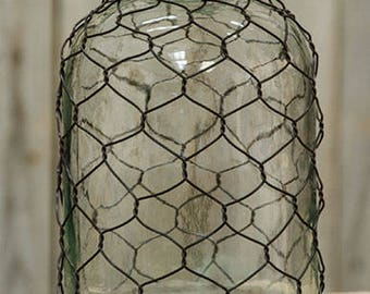 Glass bottle with Chicken Wire