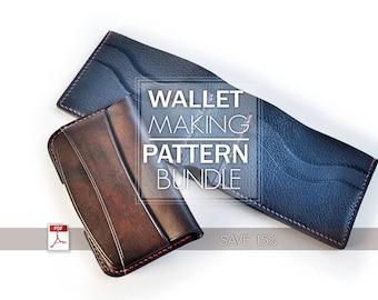 Bundle of 2 patterns/ leather card holder and bifold wallet/instant pdf file download