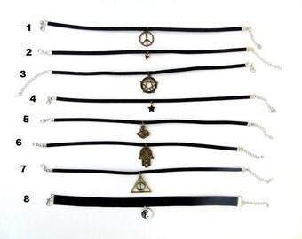 Black Choker Necklace, Suede Choker Necklace, Choker Necklace, Boho Choker, Charm Choker, Choker, Necklace, 90s Choker, Black Choker, Gift