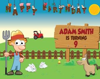 Large Custom Farm Birthday Banner, farm birthday party ,farm theme birthday party , Farm Backdrop , Farm Birthday Party Decorations ;1400037
