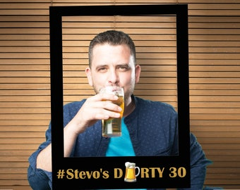 Large custom Dirty 30 birthday photo booth prop frame, 30th birthday, 30th birthday for him, Beer party, dirty thirty, thirty prop ;10011193