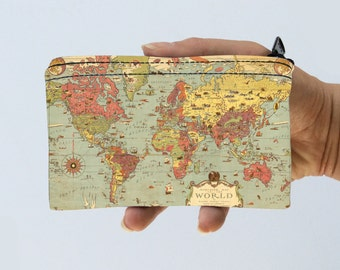 Coin Purse World Map Little Zipper Pouch - World Map Coin Purse - Gadget Case Padded