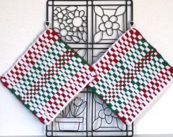 "GK's Kitchen - One Pair 8"" x 8"" - Jumbo Red, Green and White Potholders.   Item # GK's Kitchen - Winter 00405"
