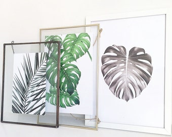 Set of 3 leaf prints / trio cheese leaf print / tropical leaf