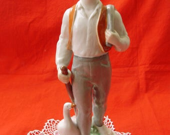 "Large Vintage , Hungarian Drasche porcelain figurine,statuette,boy with goose,handpainted,stamped,11""tall"