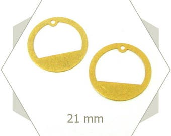8 Golden circled charm, sequin, brass based, perforated charm