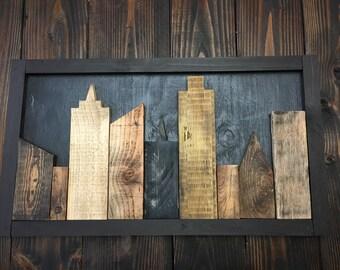 Skyline wall art in reclaimed wood