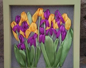 Iris Satin Ribbon Embroidery