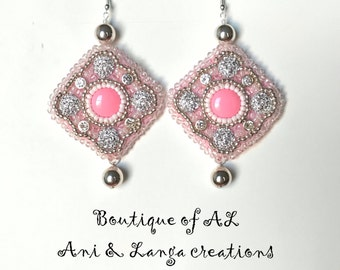 Pink Bead Embroidered Earrings, Beaded Earrings , Handmade Earrings, Gift for her