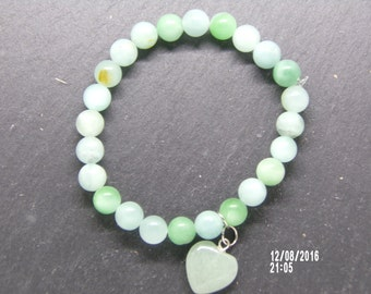 B1217 Sea Green Glass Beaded Bracelet