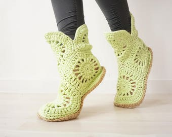 Green Crochet Shoes, Slipper Boots, Crochet Slippers, Gift for Her, Indoor Shoes, Home Shoes, Green Slippers, Spring Slippers, Boho Shoes