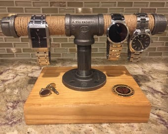 Steel Pipe and Wood Watch Stand, Rack, Holder, Stand