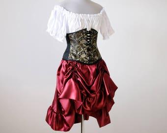 50% OFF Victorian cosplay gown dress medieval renaissance clothing Burgundy bustle skirt women halloween costume Vampire Steampunk Gothic