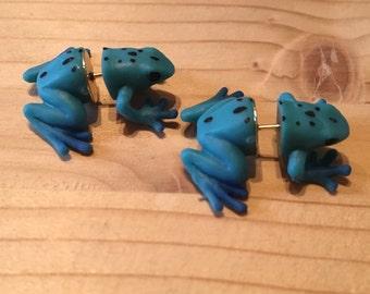 Frog Stud Earrings Red/Blue (fake gauges)