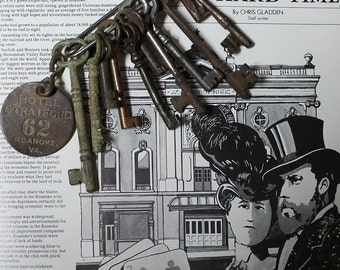 Antique set of 12 Skeleton Keys Plus a Hotel room Key Fob & A Large Safety Pin !