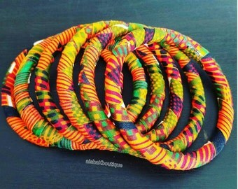 African Jewelry, Ankara Bangles (x6), African Braclet, Kente Bangles, Aishakboutique