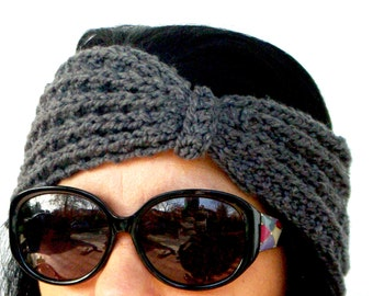 "Crochet Headband: ""GRAY HEADBAND"" Womens Headband  , Fall Crochet Headband, Crochet Ear Warmer Headband Winter headband A120"
