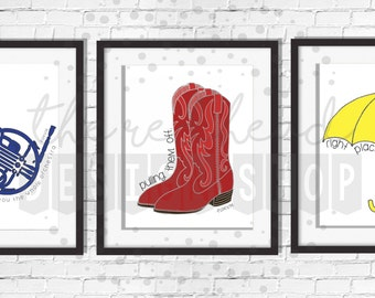 How I Met Your Mother Poster Bundle - Yellow Umbrella, Blue French Horn and Red Boots - Download - 5x7 & 8x10 Digital Poster Print