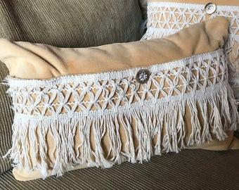 Macrame/boho/velvet/pillow cover/ mellon color/cream macrame/10x15