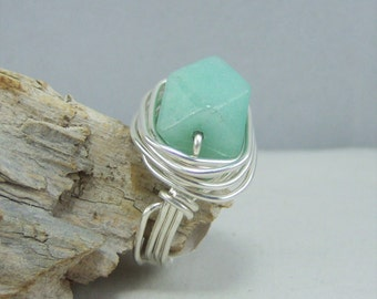 R401, Amazonite Wire Wrapped Ring