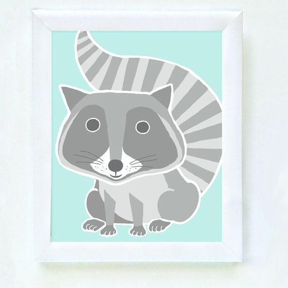 Raccoon print for nursery or kid's bedroom wall, kid's raccoon print, kids decor, nursery wall print, baby gift, children's decor, set of 4