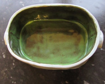 Combe Casserole Dish - large size oval, sky blue and kiwi green