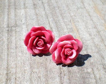 pink rose stud earrings, flower earrings, rose earrings, boho earrings, floral earrings, rose jewelry, mothers day gift, girlfriend gift