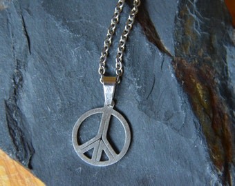 Stainless Steel Necklace with Peace Charm