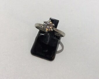 Solitaire vintage silver and zirconium ring fiancialle French size 55