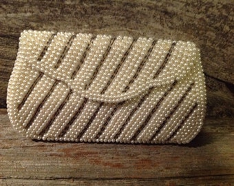 Small Beaded Clutch/Wallet/Vintage/Retro/Pearlescent/Bead/RoundBead/Stripe
