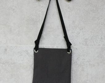 Pouch bag-charcoal, travel bag, tote bag linen, linen bag, crossbady bag,messenger bag