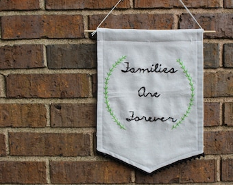 Embroidered canvas banner/pennant