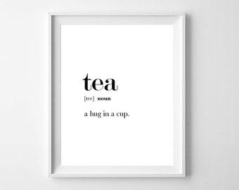 Tea Print, Tea Printable, Tea Quote, Kitchen Wall Art, Tea Lover Gift, Tea Cup Print, Tea Gifts, Tea Wall Art, Tea Lover, Dictionary Print
