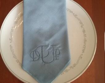 New Price  Linen BlueEmbroidery napkins
