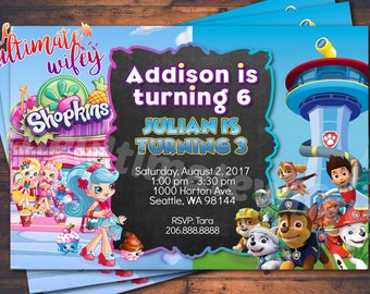 Split Theme CUSTOMIZED Birthday Invitation