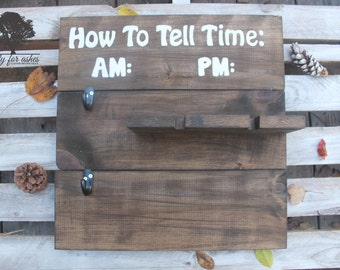 How To Tell Time Sign-Home Decor-Wine bottle holder-mug holder-rustic decor