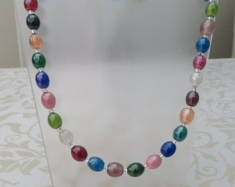 Pretty multi coloured oval lustred bead necklace