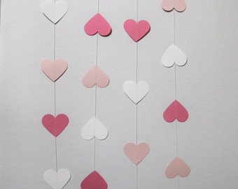 Heart paper garland, lovely pink garland, baby shower garland, birthday garland, wedding paper garland