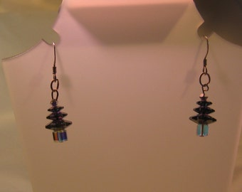 Christmas tree earrings crystal festive jewellery