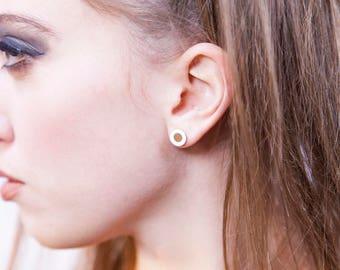 18-karat gold ear Balance-Fake Plug with colored enamel
