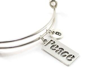 PEACE bangle, silver tone peace bracelet, peace charm, initial bracelet, adjustable bangle, personalized jewelry, swarovski birthstone