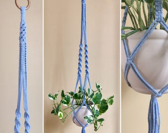 Macrame Planthanger of Light Blue Cotton Yarn