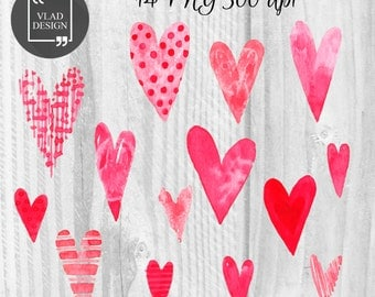14 Watercolor Hearts Clipart Love Clipart Digital Hearts Elements Cute Love graphics Valentine's clipart Hearts Fall in love clipart