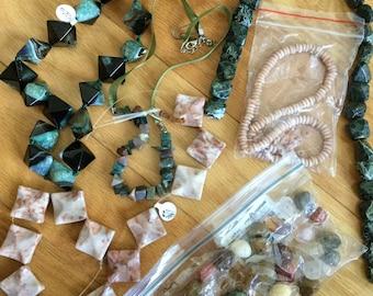 Wholesale lot of mixed gemstones beads