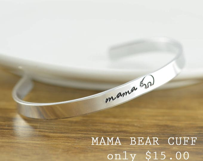 Mama Bear, Custom Cuff Bracelet, Personalized Cuff Bracelet, Mothers Bracelet, Mommy Jewelry, Kids Name Bracelet, Gifts or Her